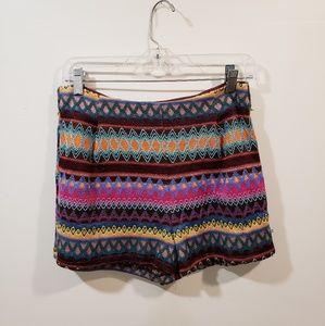 Multi Colored Boho Print Shorts